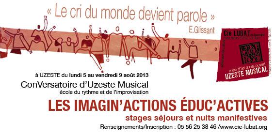 Affiche des Imagin'actions éduc'actives d'août 2013