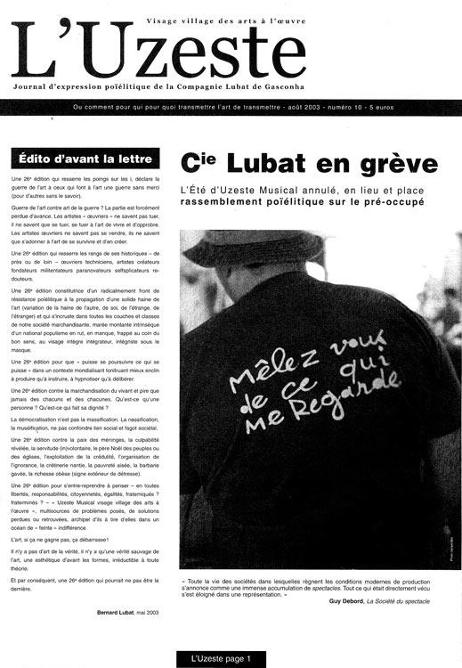 Une du manifeste de 2003